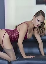 Jessica in a hot purple red lingerie dick'n her huge throbbing love stick on a couch