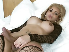 Watch how this Stockined TrannsGirl makes her Cock Grow HUGE