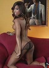 Amazing ebony hottie Natassia strips and poses