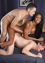 Ebony sweetheart Natassia Dreams in a hot interracial threesome