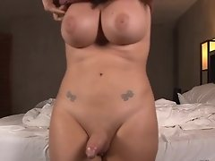 Bailey is now super tan and super fucking horny than usual she starts jacking off her dick until she cums